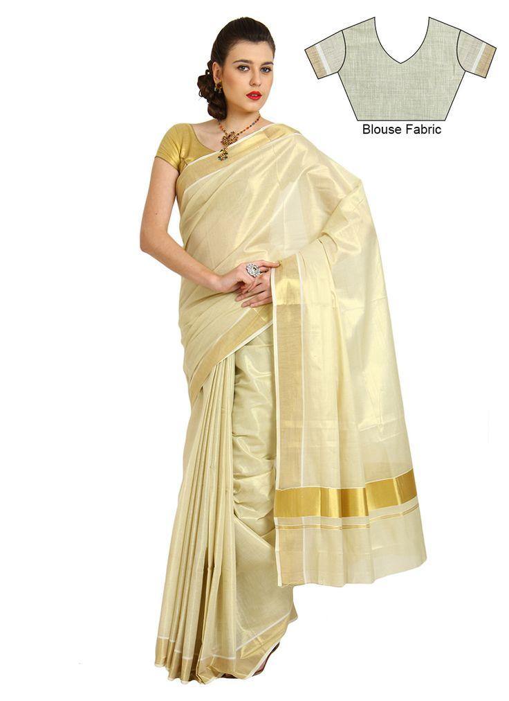 Charming Cream Silk Cotton Kerala Kasavu Saree