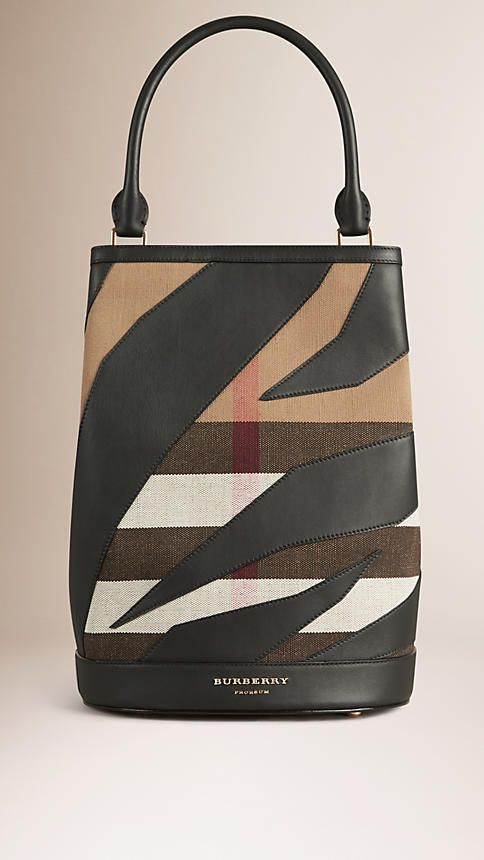 Classic check The Bucket Bag in Canvas Check and Leather