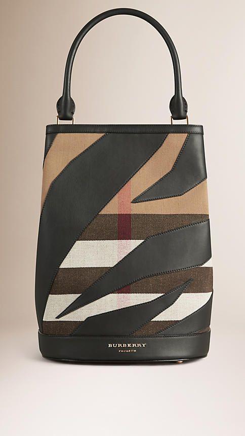Classic check Borsa Burberry Bucket con pelle e motivo Canvas check - Immagine 1