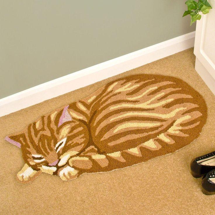 Ginger Sleeping Cat Shaped Rug Cute Animal Polyester Acrylic Yarn Bedroom  Living