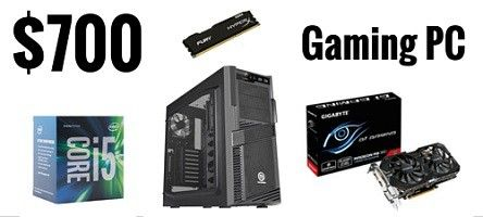 $700 budget gaming PC build  http://levelupyourgear.com/best-700-dollar-budget-gaming-pc-build-mighty-power
