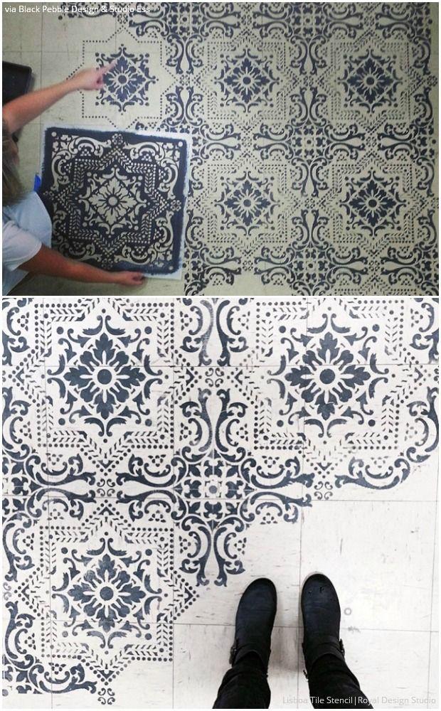 10 stenciled floor makeovers diy decor ideas using floor. Black Bedroom Furniture Sets. Home Design Ideas