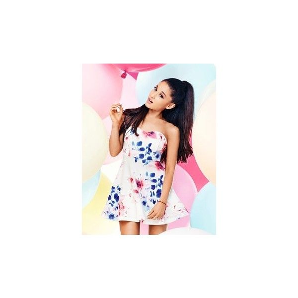 Ariana Grande For Lipsy Floral Bandeau Prom Dress (98 BRL) ❤ liked on Polyvore featuring dresses, floral print dress, floral print prom dresses, floral bandeau dress, bandeau dress and pink dress