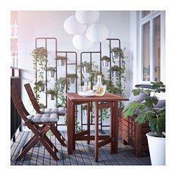 IKEA - ÄPPLARÖ, ゲートレッグテーブル 屋外用, ドロップリーフ2枚付き。必要に応じてテーブルのサイズを変えられます