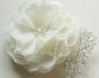 Pinza de pelo de flor marfil negro flor de accesorios por InColours