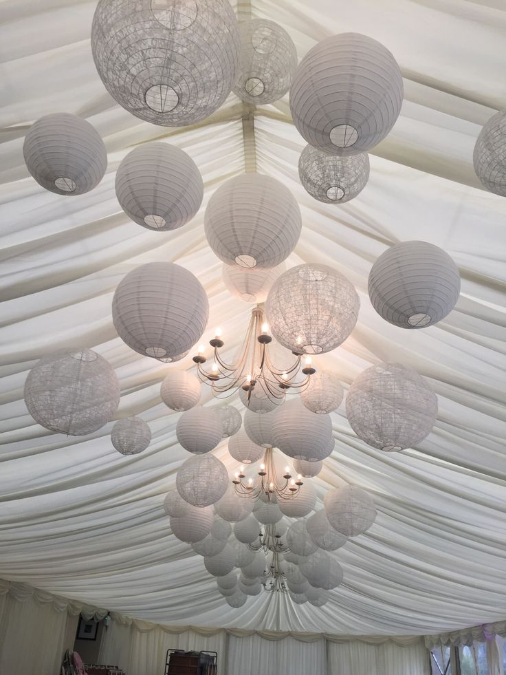 Suspend our White paper lanterns down the centre of a marquee ceiling to really bring it to life while keeping it neutral add some lace lanterns to complete a look that's a real Great Gatsby affair. Perfect!