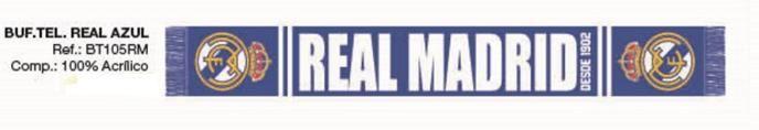 BUFANDA REAL MADRID AZUL  Este artículo lo encontrará en nuestra tienda on line de complementos www.worldmagic.es info@worldmagic.es 951381126 Para lo que necesites a su disposición