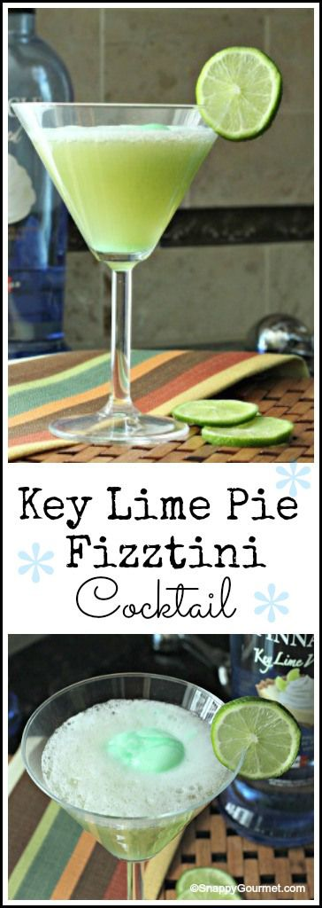 Key Lime Pie Fizztini Cocktail Recipe - easy dessert drink with sherbet and vodka. SnappyGourmet.com