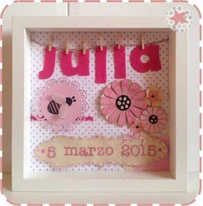 PrincessaDeNoche: Cuadro con nombre y fecha de nacimiento para habitación infantil