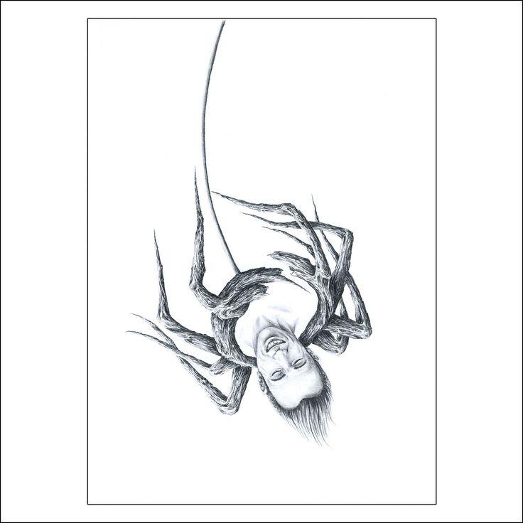 """Graphite 7"""" X 5"""",  SPIDER, When everything hangs by a thread, he swings ... into the void of his madness.  ARAIGNÉE, Quand tout ne tient qu'à un fil il se balance... dans le vide de sa démence. #drawing #artcollectors #graphite #art #artwork"""