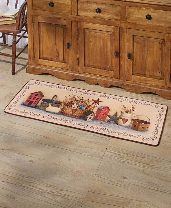 "Country Kitchen Rugs: Country Home Floor Runner Rug Kitchen Primitive 52""W X 19"
