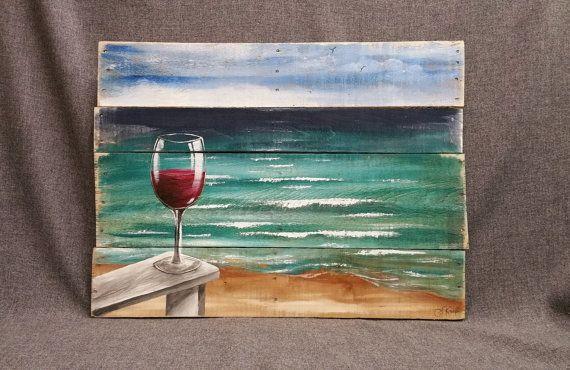 Vin rouge sur la plage, peinture, palette plage sticker, chaise de plage, upcycled Reclaimd, horizon paysage marin à la main, océan, affligé,
