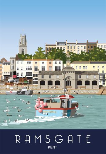 Ramsgate Harbour as seen from the Harbour Arm. Railway Poster style Illustration by www.whiteonesugar.co.uk Drawing by Nigel Wallace