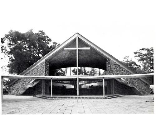 Chapel of the Missionaries of the Holy Ghost, Coyoacán, DF, 1956. Entrance    Architect: Enrique de la Mora, Builder: Felix Candela