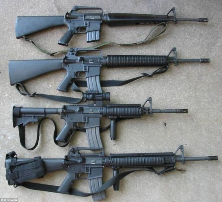 The M16 rifle has resulted in numerous variants since it was adopted in the Vietnam War. The M-4 carbine (second from bottom) is currently used by soldiers in Afghanistan