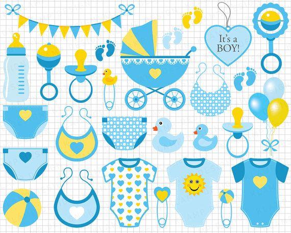 Baby Boy Clipart: Blue Baby Boy Clip Art Scrapbook by KlampDesign