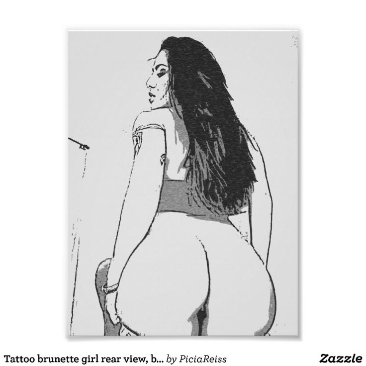 Tattoo brunette girl rear view, booty call black photographic print