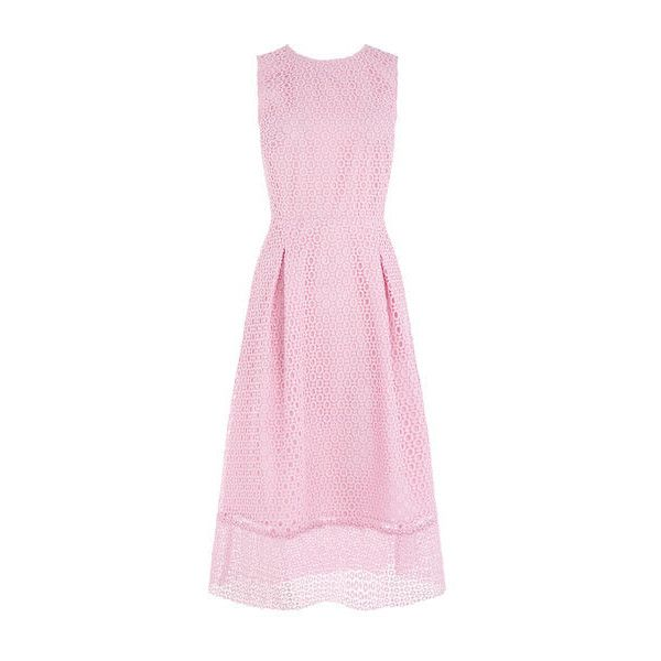 Warehouse Warehouse Linear Dress Size 6 ($51) ❤ liked on Polyvore featuring dresses, light pink, night out dresses, day party dresses, pink lace dress, lace party dresses and light pink party dress