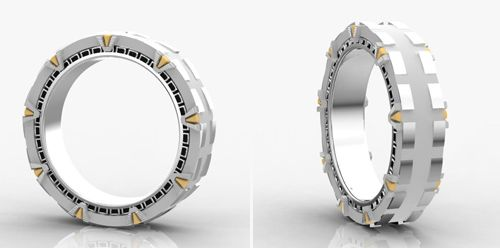 Stargate Wedding Band Yes yes YES! My geek was would love this, and love it to connect/fit with an engagement ring! Maybe Stargate blue and clear stones with a center being Marquise cut? <3