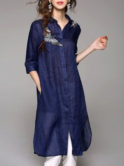 Casual V Neck Embroidered Ramie 3/4 Sleeve Shirt Dress
