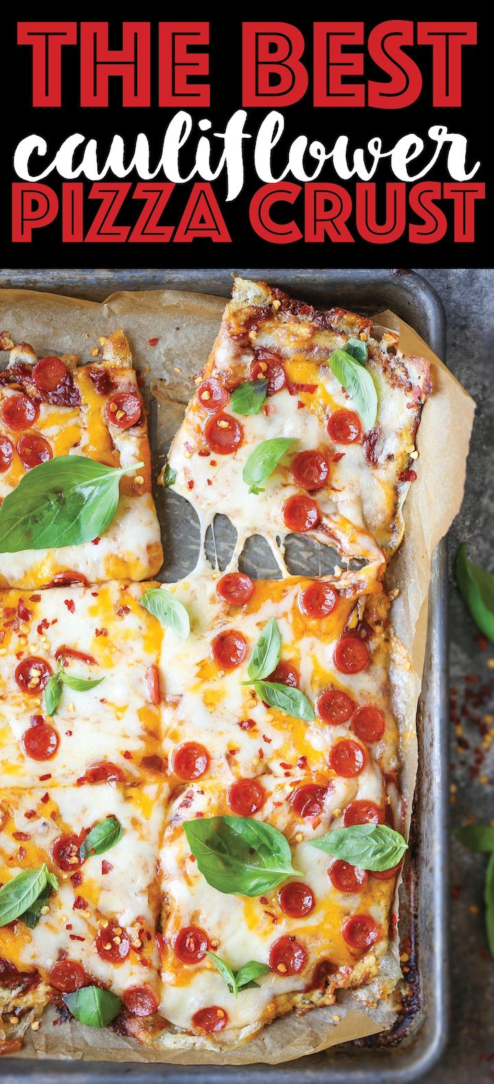 The Best Cauliflower Pizza Crust - Easy to make, grain-free AND so healthy. Plus, you will honestly not even be able to taste a difference! 169.5 calories.