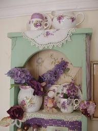 Shabby chic mint green & purple,lavender