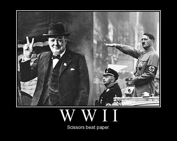 WWII. Scissors beat paper.   Demotivational Posters   Pinterest ...
