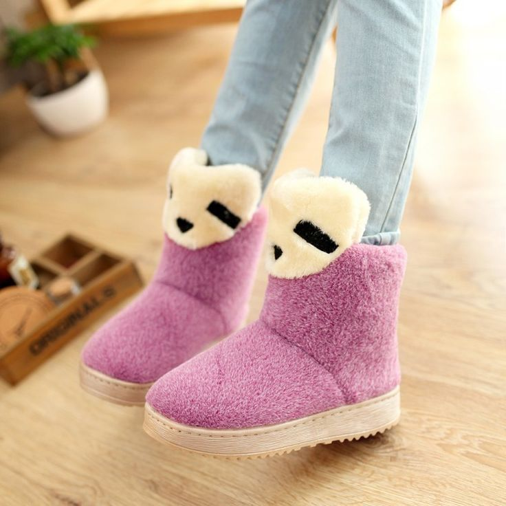 Women Warm Flat Snow Boots Fur Ankle Boots 1113