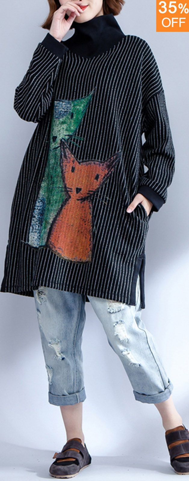 Plus Size Casual Women Cat Plaid Printed Batwing Sleeve Sweatshirts. Loose Style... 1