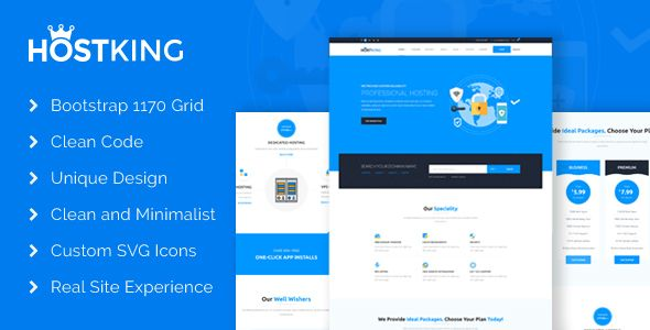HostKing - Web Hosting Domain Technology PSD Template . HOSTKING is a minimul PSD template for hosting and domain service provider. Great UI based on actual hosting UX to highlight the domain-hosting features and better user experience. We tried to build an simple site providing everything required for a hosting site. Used attractive Custom SVG icons to