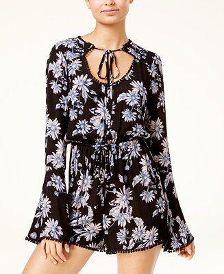 American Rag Juniors' Floral-Print Bell-Sleeve Romper, Created for Macy's - Juniors Shorts - Macy's