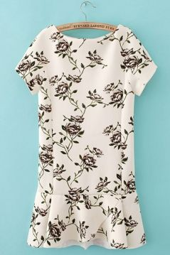 Short Sleeves Fancy Printed Slim Dress Floral Frill