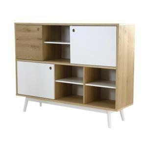 Bibliothèque scandinave placage bois chêne brossé et hêtre massif laqué blanc - L 145 cm