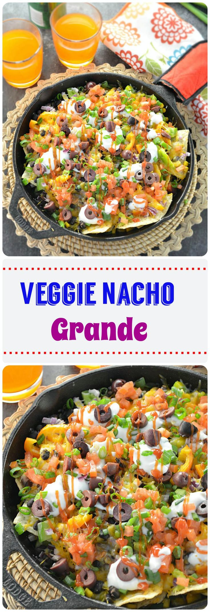 Veggie #Nacho Grande - loaded with veggies, beans and topped with low fat shredded cheese.