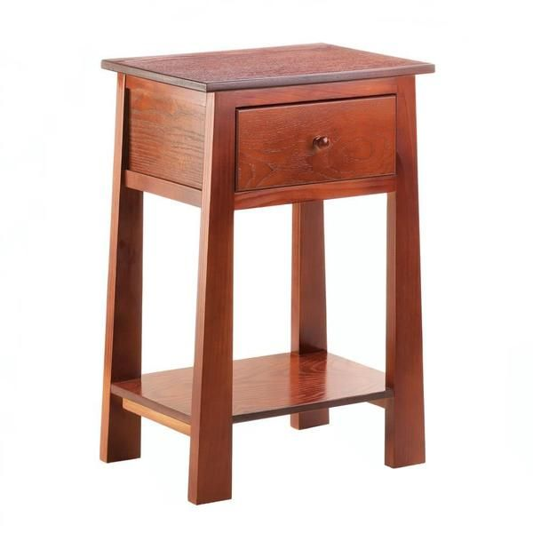 A modern take on a classic design, this wooden accent table will look great in your room. It features a square top, a pull out drawer, lower display shelf, and