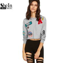 SheIn Women Pullovers Ladies Heather Grey Round Neck Long Sleeve Raw Hem Crop Hoodies Sweatshirt With Embroidered Patch(China (Mainland))