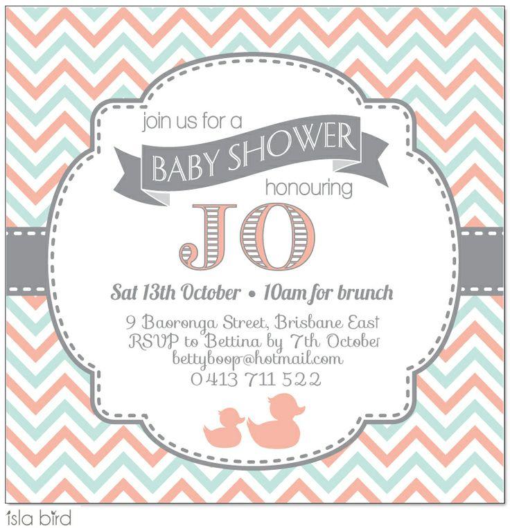 Retro Chevron Baby Shower Invitation - Isla Bird Stationery (http://www.islabird.com/retro-chevron-baby-shower-invitation/)