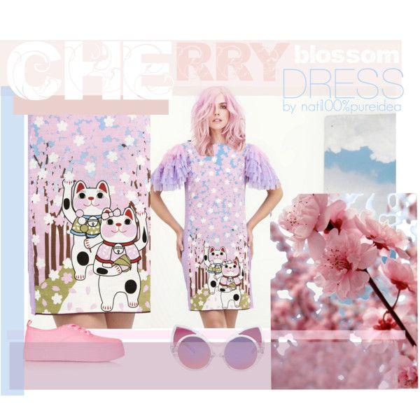 Cherry blossom dress by natipureidea on Polyvore featuring Topshop and Linda Farrow