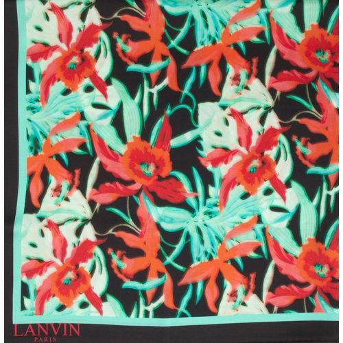"""$395.00  Go to Store  Silk square scarf printed in an orchid pattern with a solid border and rolled edges.34.5"""" squareAvailable in Rouge MultiMade in ItalySilkDry clean"""