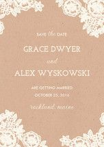 Lace and Kraft Save The Date Postcards by Katharin...   Minted