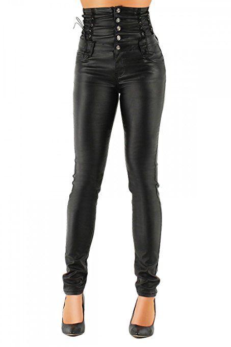 Damen Kunstlederhose Skinny (Hochschnitt Röhre) 324, Grösse:M / 38;Farbe:Schwarz