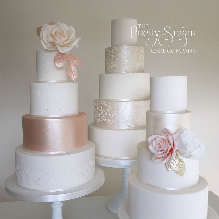 A trio of lustre wedding cakes. Rose gold lustre, delicate lace and rose gold bead detail, pearl lustre and vintage lace stencil detail and statement sugar roses