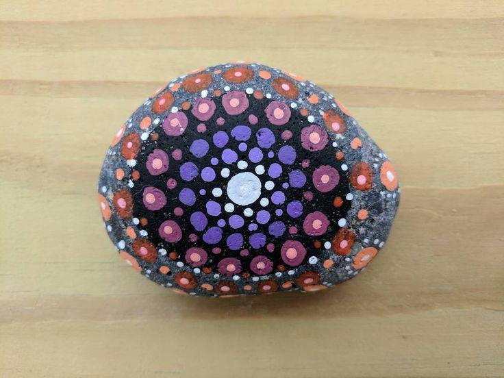 """Nvya"" (2017) - dot mandala pattern on river rock. ""Nvya"" means ""rock"" in Cherokee. . . . #art #artist #artshare #artofinstagram #artistsoninstagram #instaart #instaartist #craft #crafts #creative #creativelife #rock #stone #rockpainting #acrylic #handmade #original #mandala #meditation #zen #calm #hindi #buddhism #yoga #tiny #dots #point #dailyart #nofilter #j9creationstudio"