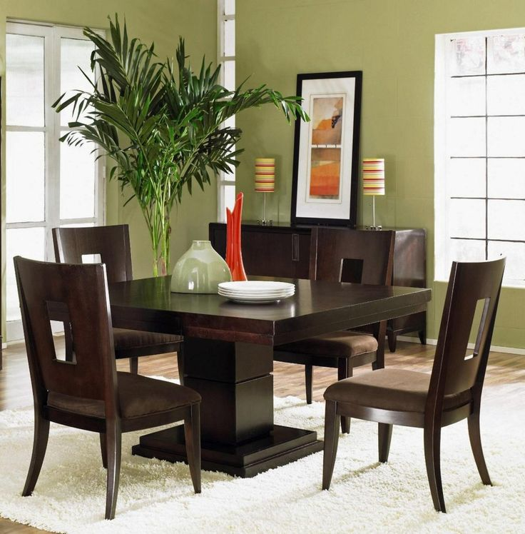 Furniture: Awesome Strong High Gloss Finishing Of Solid Wooden Dining Chairs And Square Dining Table Also Cabinet In Modest Style Above White Fur Rugs In Addition To Green Wall Painting Ideas And Colorful Table Lamp Shades Ideas: Amazing Dining Room Furniture For Eye-Catching Interior Design
