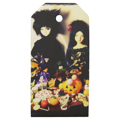 old halloween photo wooden gift tags - Halloween happyhalloween festival party holiday