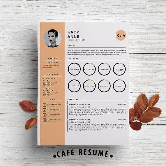 Modèle de CV créatifs  modèle de lettre de par CafeResume sur Etsy