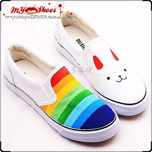 rainbow hand painted shoes