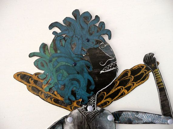 Medusa DIY or Constructed Articulated Paper Doll with brads / Hinged Beasts Series