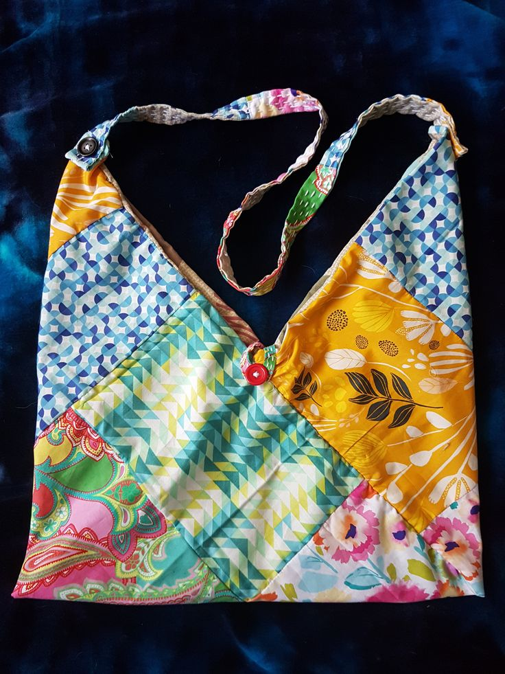 Kantha Origami Bento Bag 1 - OOAK by StitcheryDooKantha on Etsy