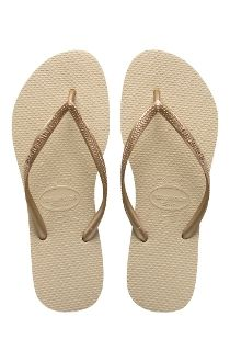 Havaianas SLIM Solid SAND Brazilian Flip Flops Sandals Womens